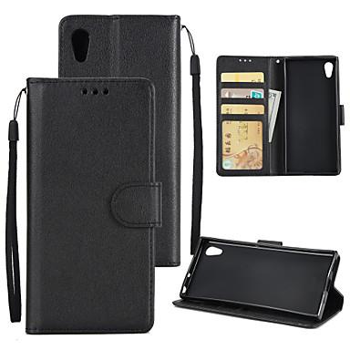 رخيصةأون Sony أغطية / كفرات-غطاء من أجل Sony Sony Xperia XZ / Sony Xperia XA1 Ultra / Xperia XA1 Plus محفظة / حامل البطاقات / ضد الصدمات غطاء كامل للجسم لون سادة قاسي جلد PU