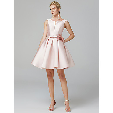 cheap Prom Dresses-A-Line Elegant Minimalist Cute Homecoming Cocktail Party Dress V Wire Sleeveless Knee Length Satin with Bow(s) Pleats 2020