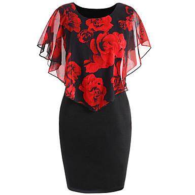 povoljno Maxi haljine-Žene Cvjetni print Veći konfekcijski brojevi Blushing Pink Red Haljina Elegantno Proljeće Izlasci Bodycon Cvjetni print Cvijet Print Zamotajte S M
