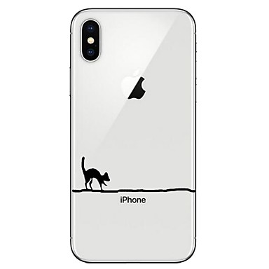 voordelige iPhone-hoesjes-hoesje Voor Apple iPhone X / iPhone 8 Plus / iPhone 8 Transparant / Patroon Achterkant Kat Zacht TPU