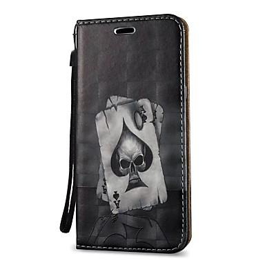 Недорогие Чехлы и кейсы для Galaxy S3-Кейс для Назначение SSamsung Galaxy S9 / S9 Plus / S8 Plus Кошелек / Бумажник для карт / со стендом Чехол Черепа Твердый Кожа PU