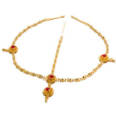 رخيصةأون مجوهرات الشعر-نسائي موضة أنيق مطلية بالذهب ياقوت إصطناعي أغطية الرأس هدية مناسب للخارج