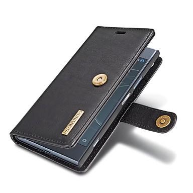 Недорогие Чехлы и кейсы для Sony-Кейс для Назначение Sony Sony Xperia XZ1 Кошелек / Бумажник для карт / со стендом Чехол Однотонный Твердый Настоящая кожа