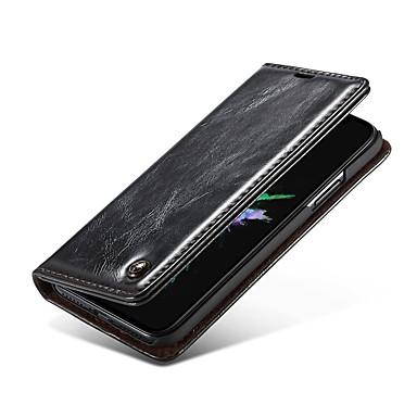 Недорогие Кейсы для iPhone X-Кейс для Назначение Apple iPhone X / iPhone 8 Pluss / iPhone 8 Кошелек / Бумажник для карт / Флип Чехол Однотонный Твердый Настоящая кожа