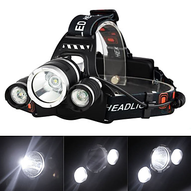 رخيصةأون مصابيح اليد-مصابيح أمامية مصابيح الدراجة قابلة لإعادة الشحن 3000 lm LED 3 بواعث 4.0 إضاءة الوضع مع الشاحن قابلة لإعادة الشحن فص الموضع المصطدم Camping / Hiking / Caving السفر / معدن الألمنيوم