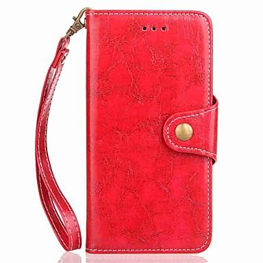 Недорогие Чехлы и кейсы для Galaxy Note 3-Кейс для Назначение SSamsung Galaxy Note 8 / Note 5 / Note 4 Кошелек / Бумажник для карт / со стендом Чехол Однотонный Твердый Кожа PU