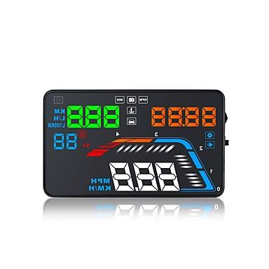 olcso HUD-q700 5,6 hüvelykes led-felfelé mutató kijelző led-kijelző többfunkciós kijelző plug and play teherautó-busz személygépkocsi kijelzőjén km / h mph vezetési sebesség