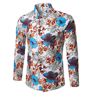 رجالي عمل الأعمال التجارية / عتيق / بوهو قياس كبير - قطن قميص, ورد / كم طويل