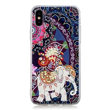 Недорогие Кейсы для iPhone 7-Кейс для Назначение Apple iPhone X / iPhone 8 Pluss / iPhone 8 С узором Кейс на заднюю панель Животное / Слон Мягкий ТПУ