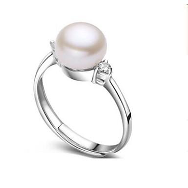 povoljno Prstenje-Žene Band Ring prsten za palac Slatkovodni biser Srebro Biseri Tikovina S925 Sterling Silver dame Nature Moda Rođendan Dnevno Jewelry