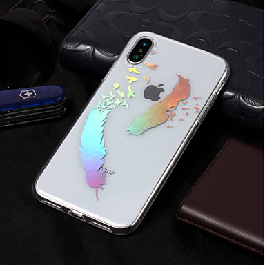 voordelige iPhone-hoesjes-hoesje Voor Apple iPhone X / iPhone 8 Plus / iPhone 8 IMD / Patroon Achterkant Veren Zacht TPU