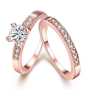 9b5f59daed1d Mujer Diamante Solitario Redondas simulado Anillo de banda Juego de anillos  Cobre Chapado en Oro Rosa Oro Plateado Amistad damas Simple Moda Bling  Bling ...