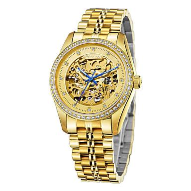 olcso Luxus karórák-CADISEN Férfi Szkeleton óra mechanikus Watch Japán Rozsdamentes acél Fehér / Arany 50 m Vízálló Üreges gravírozás utánzat Diamond Analóg Luxus Csontváz - Aranyozott Arany / Fehér