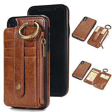 Недорогие Кейсы для iPhone 6 Plus-Кейс для Назначение Apple iPhone X / iPhone 8 Pluss / iPhone 8 Кошелек / Бумажник для карт / со стендом Чехол Однотонный Твердый Настоящая кожа