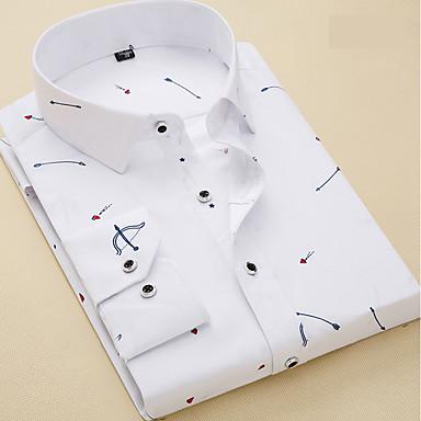 رخيصةأون قمصان رجالي-رجالي عمل الأعمال التجارية / أساسي قميص, هندسي / كم طويل