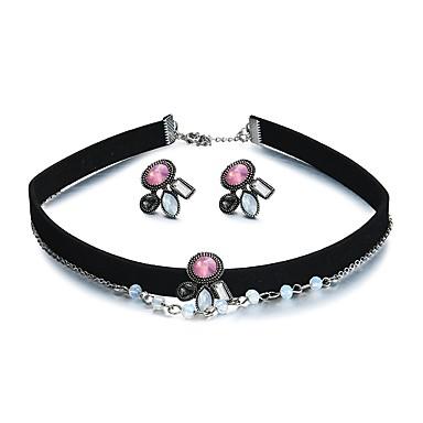 levne Sady křišťálových šperků-Křišťál Sady šperků Medailónek Prohlášení dámy Evropský Náušnice Šperky Duhová Pro Dar Trénink