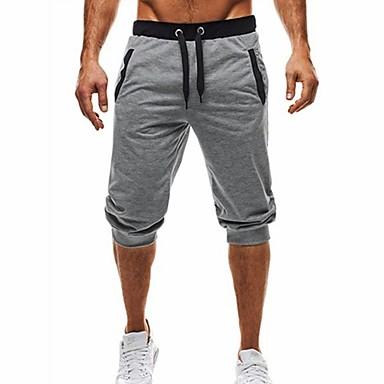 저렴한 남성 바지-남성용 베이직 / 스트리트 쉬크 일상 스포츠 홀리데이 치노바지 / 반바지 바지 - 컬러 블럭 블랙 & 그레이, 패치 워크 / 드로스트링 여름 가을 블랙 다크 그레이 라이트 그레이 L XL XXL / 비치