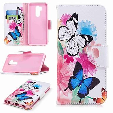 Недорогие Чехлы и кейсы для LG-Кейс для Назначение LG LG V30 / LG V20 / LG Q6 Кошелек / Бумажник для карт / со стендом Чехол Бабочка Твердый Кожа PU / LG G6