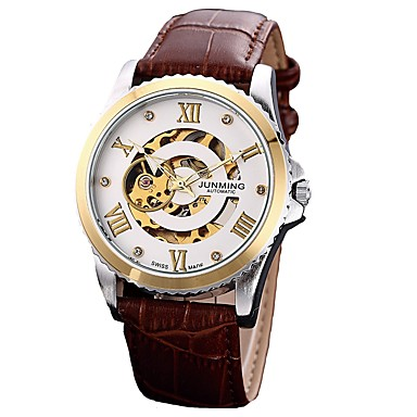cheap Leather band Watches-Men's Dress Watch Skeleton Watch Automatic self-winding Classic Chronograph Analog Brown / Stainless Steel / Genuine Leather / Japanese / Genuine Leather / Japanese