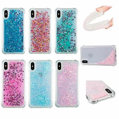 voordelige iPhone-hoesjes-hoesje Voor Apple iPhone X / iPhone 8 Plus / iPhone 8 Schokbestendig / Stromende vloeistof / Glitterglans Achterkant Effen / Glitterglans Zacht TPU