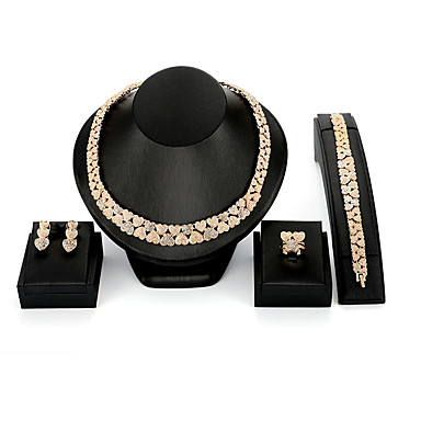 رخيصةأون أطقم المجوهرات-نسائي مجموعة مجوهرات سيدات عتيق موضة المتضخم الأقراط مجوهرات ذهبي من أجل زفاف