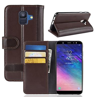 voordelige Galaxy A-serie hoesjes / covers-hoesje Voor Samsung Galaxy A6 (2018) / A6+ (2018) / A3 (2017) Portemonnee / Kaarthouder / met standaard Volledig hoesje Effen Hard aitoa nahkaa