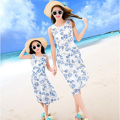 cheap Family Matching Outfits-Adults Kids Girls' Active Boho Beach Floral Sleeveless Midi Dress Blue