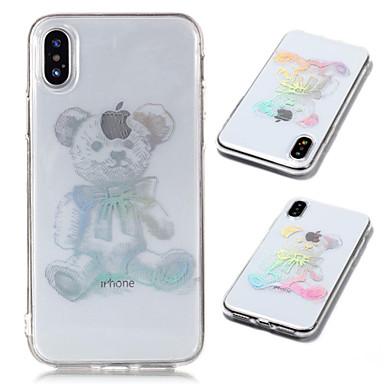 voordelige iPhone-hoesjes-hoesje Voor Apple iPhone X / iPhone 8 Plus / iPhone 8 Beplating / Transparant / Patroon Achterkant dier Zacht TPU