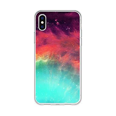 voordelige iPhone 5 hoesjes-hoesje Voor Apple iPhone X / iPhone 8 Plus / iPhone 8 Patroon Achterkant Landschap / Cartoon / Kleurgradatie Zacht TPU