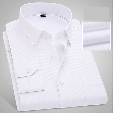 رخيصةأون قمصان رجالي-رجالي عمل الأعمال التجارية / أساسي قطن قميص, لون سادة / ألوان متناوبة نحيل / كم طويل