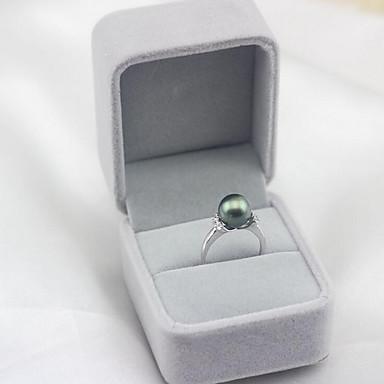 olcso Divat gyűrűk-Női Nyissa meg a gyűrűt Gyöngy Édesvízi gyöngy Tahiti gyöngy Fehér Fekete Rozsdamentes acél Fekete Gyöngy S925 ezüst Circle Shape hölgyek Egyszerű Divat Parti Ajándék Ékszerek