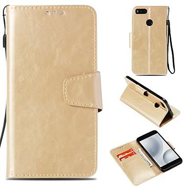 Недорогие Чехлы и кейсы для Xiaomi-Кейс для Назначение Xiaomi Redmi Note 5A / Xiaomi Redmi Note 4X / Xiaomi Redmi Note 4 Кошелек / Бумажник для карт / Магнитный Чехол Однотонный Твердый Кожа PU / Xiaomi Redmi 4a