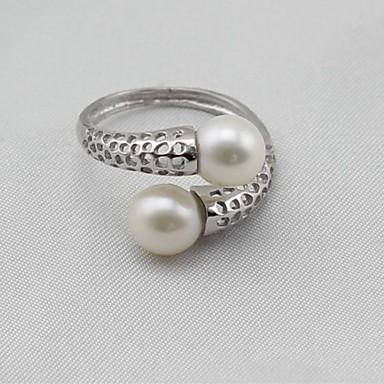 povoljno Prstenje-Žene Band Ring Prestenje knuckle ring zamotajte prsten Biseri Srebro Biseri S925 Sterling Silver Legura dame Klasik Moda Dar Dnevno Jewelry
