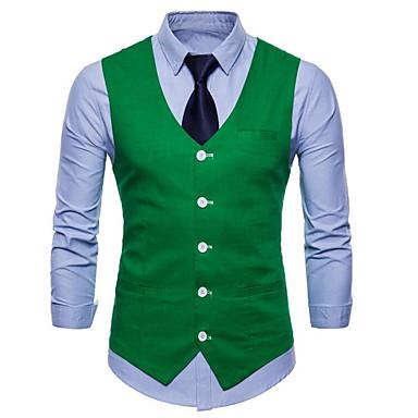 رخيصةأون سترات و بدلات الرجال-رجالي أبيض أسود أصفر XXL XXXL XXXXL Vest قياس كبير الأعمال التجارية / أساسي لون سادة V رقبة نحيل / بدون كم / الصيف / عمل / نصف رسمي