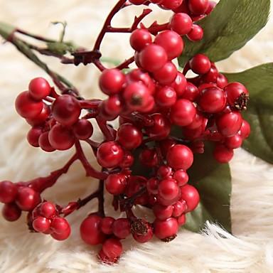 زهور اصطناعية 1 فرع زهري حفلة شجرة عيد الميلاد الزهور الخالدة أزهار الطاولة