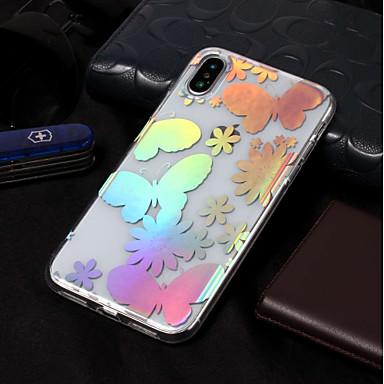 voordelige iPhone-hoesjes-hoesje Voor Apple iPhone X / iPhone 8 Plus / iPhone 8 IMD / Patroon Achterkant Vlinder Zacht TPU