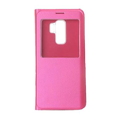 رخيصةأون حافظات / جرابات هواتف جالكسي S-غطاء من أجل Samsung Galaxy S9 / S9 Plus مع نافذة / قلب / نحيف جداً غطاء كامل للجسم لون سادة قاسي جلد PU