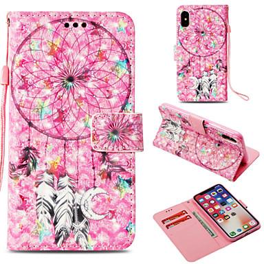 Недорогие Кейсы для iPhone 6-Кейс для Назначение Apple iPhone X / iPhone 8 Pluss / iPhone 8 Кошелек / Бумажник для карт / со стендом Чехол Ловец снов / Цветы Твердый Кожа PU