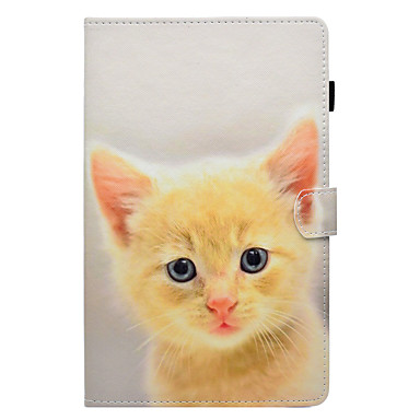 cheap Tablet Cases-Case For Samsung Galaxy Tab E 9.6 / Tab E 8.0 / Tab A 9.7 Card Holder / with Stand / Flip Full Body Cases Cat Hard PU Leather