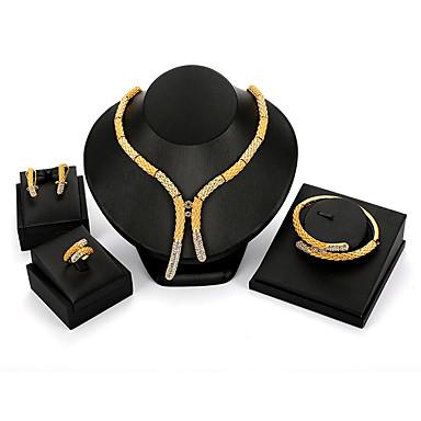 رخيصةأون أطقم المجوهرات-نسائي مجموعة مجوهرات سيدات عتيق موضة المتضخم الأقراط مجوهرات ذهبي من أجل مناسب للحفلات حفلة ليلية
