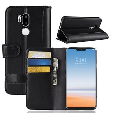 رخيصةأون LG أغطية / كفرات-غطاء من أجل LG LG V30 / LG V20 MINI / LG Q6 محفظة / حامل البطاقات / قلب غطاء كامل للجسم لون سادة قاسي جلد أصلي / LG G6