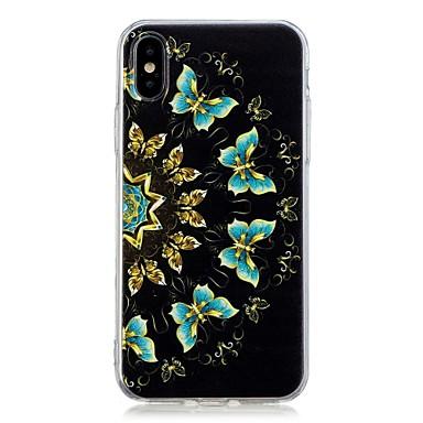 Недорогие Кейсы для iPhone 7-Кейс для Назначение Apple iPhone X / iPhone 8 Pluss / iPhone 8 С узором Кейс на заднюю панель Бабочка Мягкий ТПУ