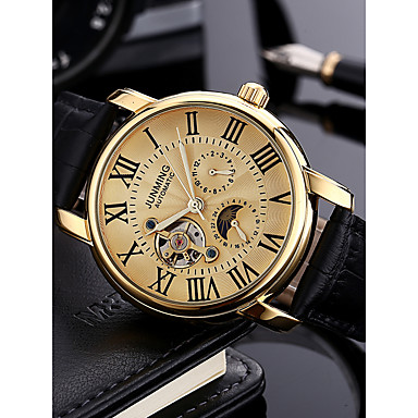 cheap Mechanical Watches-Men's Dress Watch Military Watch Aviation Watch Japanese Automatic self-winding Genuine Leather Black 30 m 50 m Calendar / date / day Chronograph Hollow Engraving Analog Luxury Classic Fashion -