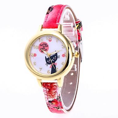 849 Femme Montre Bracelet Chinois Montre Décontractée Adorable Polyuréthane Bande Dessin Animé Mode Noir Blanc Rouge Un Ans