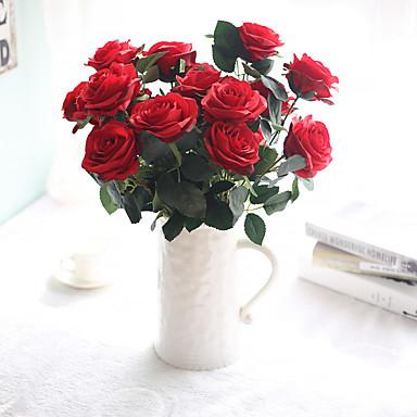 زهور اصطناعية 10 فرع الزفاف / Wedding Flowers الورود / الزهور الخالدة أزهار الطاولة