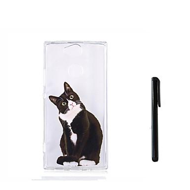 Недорогие Чехлы и кейсы для Sony-Кейс для Назначение Sony Xperia XZ1 Compact / Sony Xperia XZ1 / Xperia XA2 Ultra Полупрозрачный Кейс на заднюю панель Кот / Животное Мягкий ТПУ