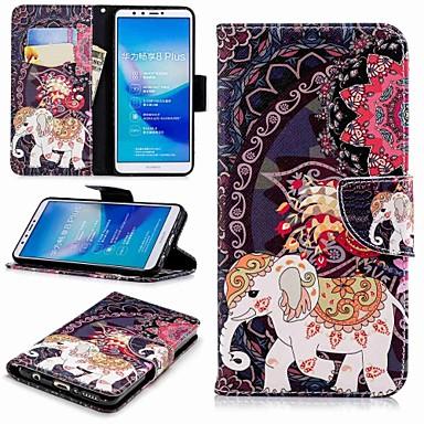voordelige Huawei Y-serie hoesjes / covers-hoesje Voor Huawei Huawei Y7(Nova Lite+) / Huawei Y6 (2018) / Huawei Y6 (2017)(Nova Young) Portemonnee / Kaarthouder / met standaard Volledig hoesje Olifant Hard PU-nahka