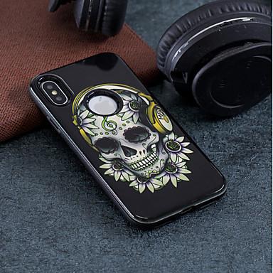 voordelige iPhone 5 hoesjes-hoesje Voor Apple iPhone X / iPhone 8 Plus / iPhone 8 Schokbestendig / Reliëfopdruk / Patroon Achterkant Doodskoppen Hard PC