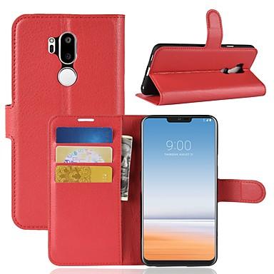 Недорогие Чехлы и кейсы для LG-Кейс для Назначение LG LG X venture / LG V30 / LG V20 Кошелек / Бумажник для карт / Флип Чехол Однотонный Твердый Кожа PU / LG G6