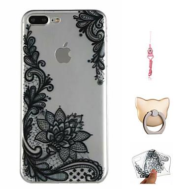 voordelige iPhone 8 hoesjes-hoesje Voor Apple iPhone X / iPhone 8 Plus / iPhone 8 Patroon Achterkant Cartoon / Lace Printing / Bloem Zacht TPU